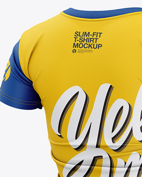 Women's Slim-Fit T-Shirt Mockup - Back Half-Side View