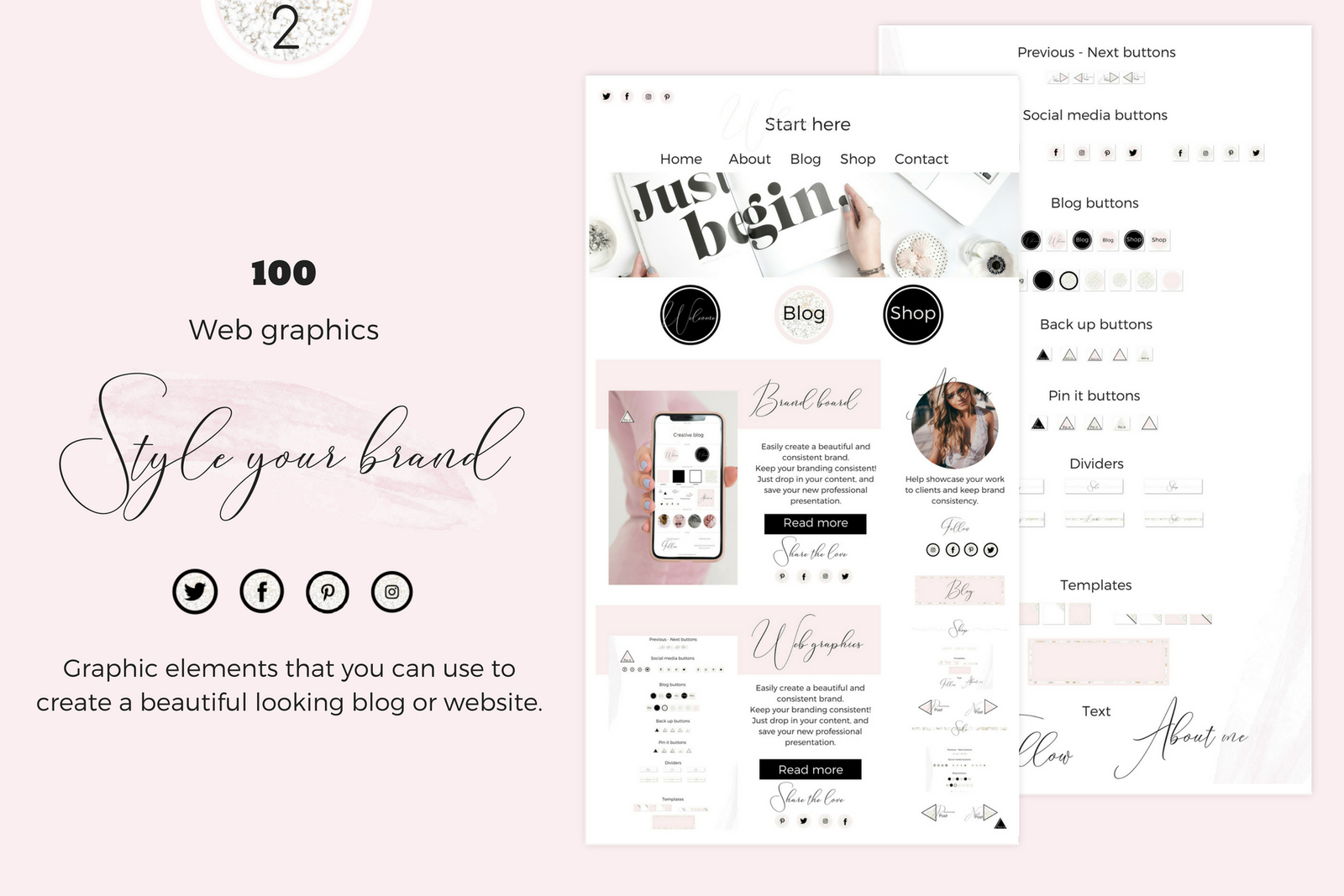 Web graphics - Pink, black, marblegold