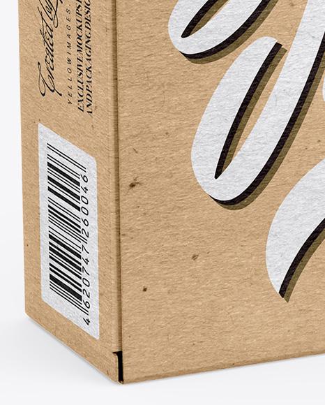 Kraft Box w/ Pills Mockup - Half Side View
