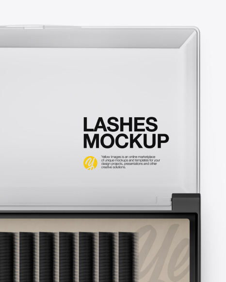 Opened Transparent Box with Lashes Mockup - Top View