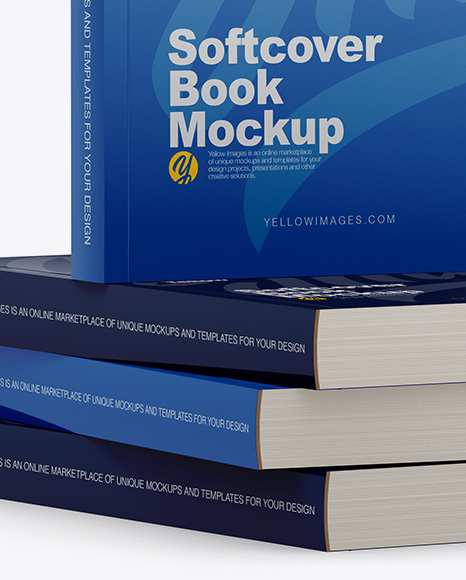 Download 4 Glossy Softcover Books Mockup Half Side View In Stationery Mockups On Yellow Images Object Mockups PSD Mockup Templates