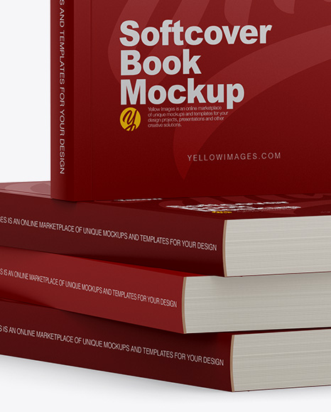 Download 4 Matte Softcover Books Mockup Half Side View In Stationery Mockups On Yellow Images Object Mockups PSD Mockup Templates
