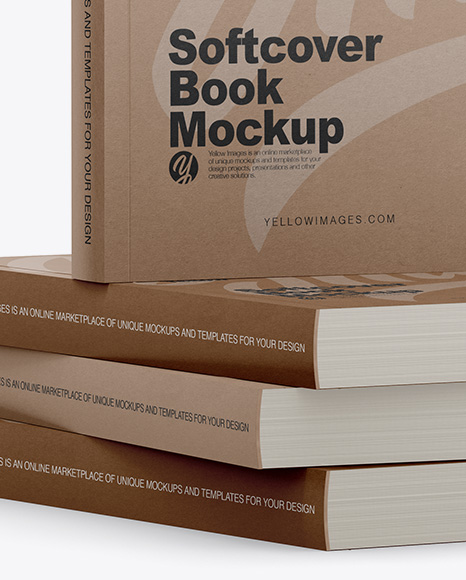 Download 4 Kraft Softcover Books Mockup Half Side View In Stationery Mockups On Yellow Images Object Mockups PSD Mockup Templates