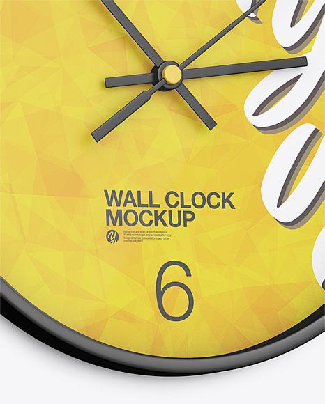Round Wall Clock Mockup - Half-Side View