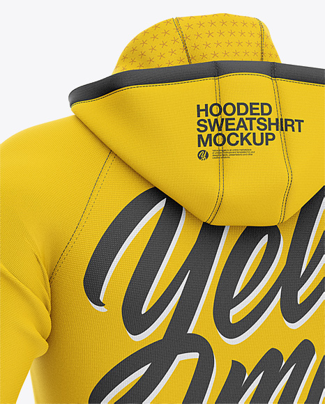Men's Hooded Sweatshirt Mockup - Back Half Side View
