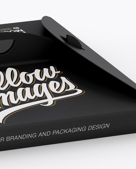 Matte Paper Box with Handle Mockup - Half Side View