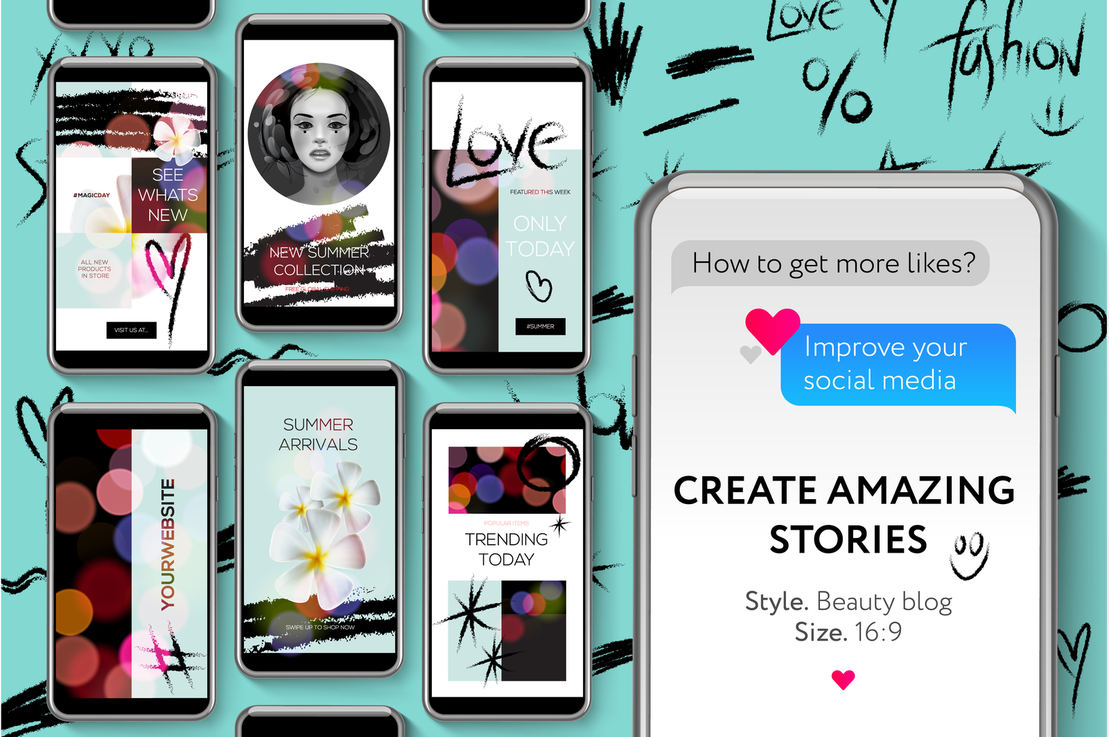 Social media templates, Beauty Blog Stories Bundle for brands and blogger