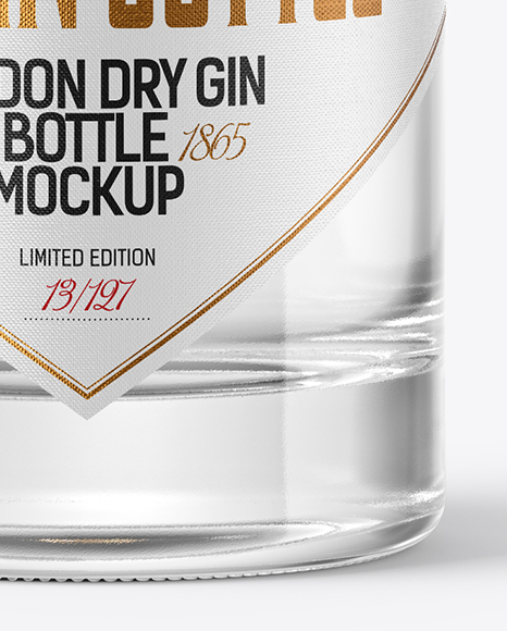Dry Gin Bottle with Wooden Cap & Wax Mockup