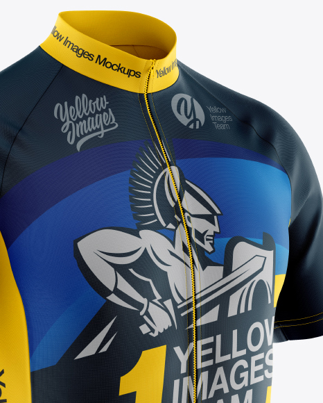 Men's Full-Zip Cycling Jersey Mockup - Half Side View