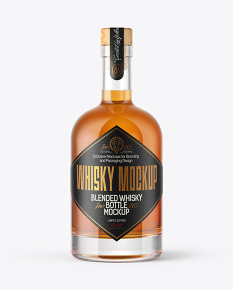 Whiskey Bottle with Wooden Cap & Wax Mockup