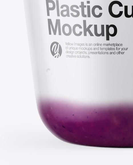 Cup with Blueberry Yogurt and Muesli Mockup