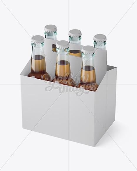 White Paper 6 Pack Beer Bottle Carrier Mockup 3 4 View In Bottle