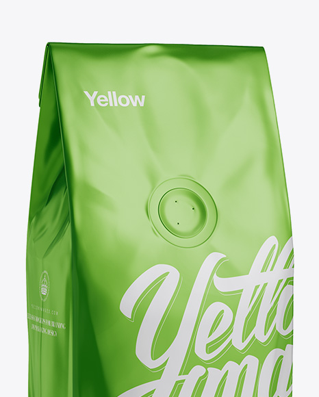 250g Matte Metallic Coffee Bag With Valve Mockup - Half-Turned View