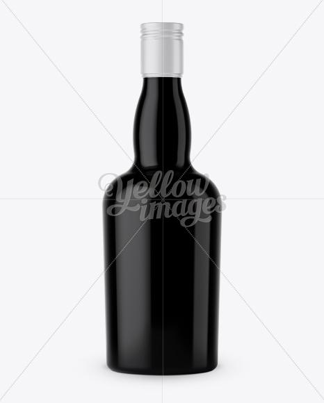 Black Glass Liquor Bottle Mockup - Front View