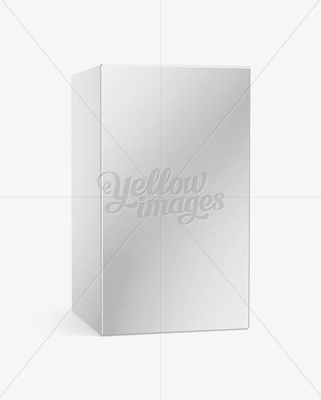 Glossy Paper Box Mockup - 25° Angle Front View (Eye-Level Shot)