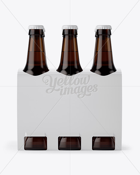 Download White Paper 6 Pack Amber Bottle Carrier Mockup Front View In Bottle Mockups On Yellow Images Object Mockups PSD Mockup Templates