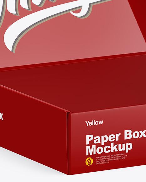 Glossy Opened Box Mockup Half Side View In Box Mockups On Yellow