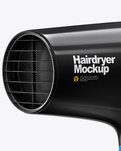 Glossy Hairdryer Mockup - Half Side View