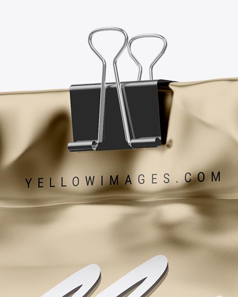 Metallic Coffee Bag With Clip Mockup - Half Side View