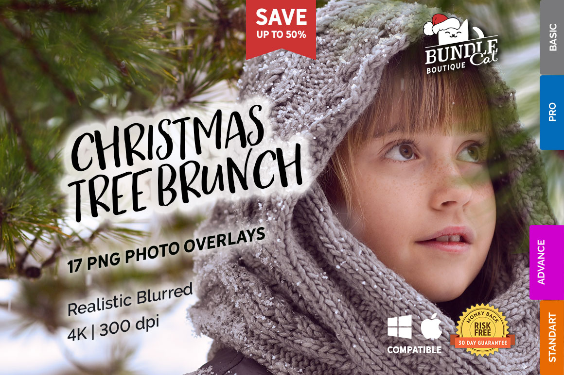 17 Christmas Tree Brunch Overlays in Actions & Presets on Yellow