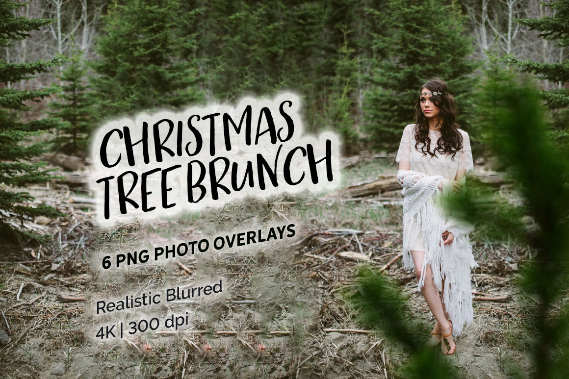 6 Christmas Tree Brunch Overlays in Actions & Presets on Yellow