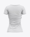 Women's Slim-Fit V-Neck T-Shirt Mockup - Back View