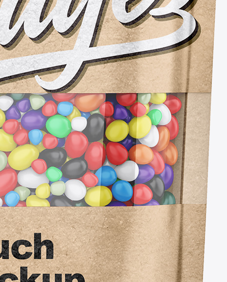 Kraft Stand-Up Pouch With Candies Mockup - Front View