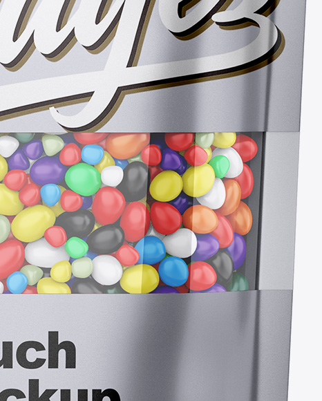 Metallic Stand-Up Pouch With Candies Mockup - Front View