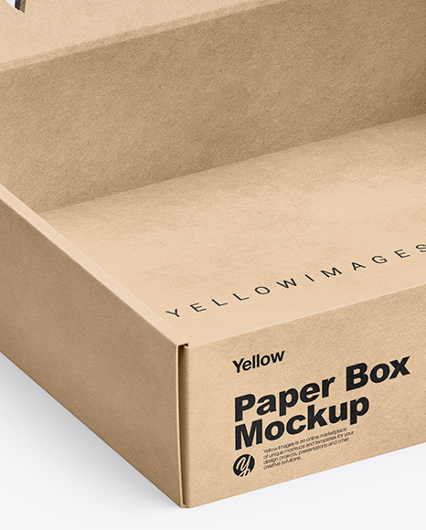 Download Kraft Opened Box Mockup Half Side View In Box Mockups On Yellow Images Object Mockups PSD Mockup Templates