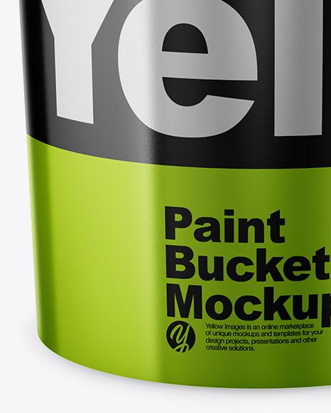 Metallic Paint Bucket Mockup - Front View (High Angle Shot)