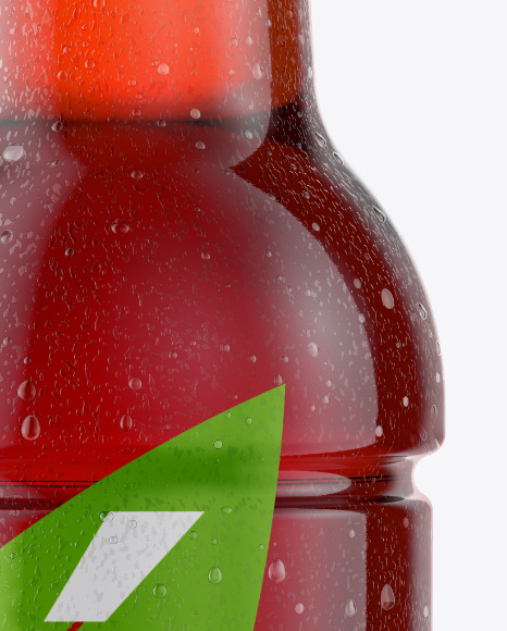 Download Tea Bottle With Condensation In Shrink Sleeve Mockup Front View PSD - Free PSD Mockup Templates