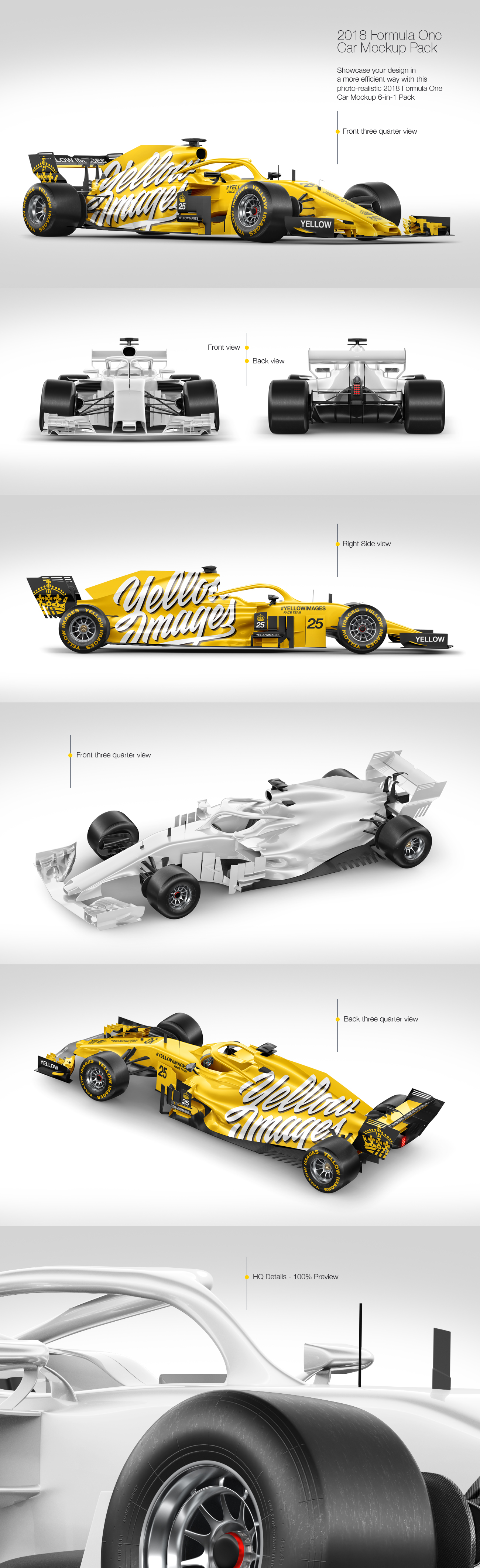 Download Formula 1 2018 Mockup Pack In Handpicked Sets Of Vehicles On Yellow Images Creative Store PSD Mockup Templates