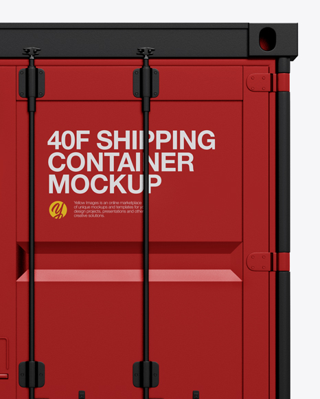 40F Shipping Container with Opened Door Mockup - Front View