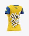 Women's Slim-Fit V-Neck T-Shirt Mockup - Back Half-Side View