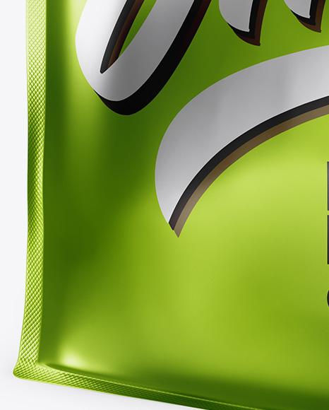 Matte Metallic Stand-up Food Bag Mockup