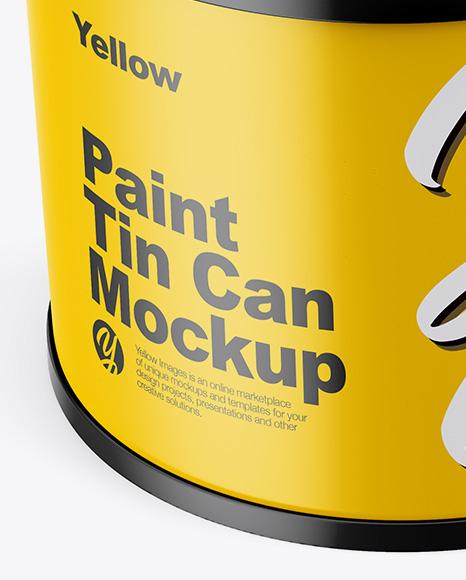 Matte Tin Can  Mockup - Front View (High Angle Shot)