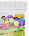 Glossy Snack Bag With Candies Mockup - Front View
