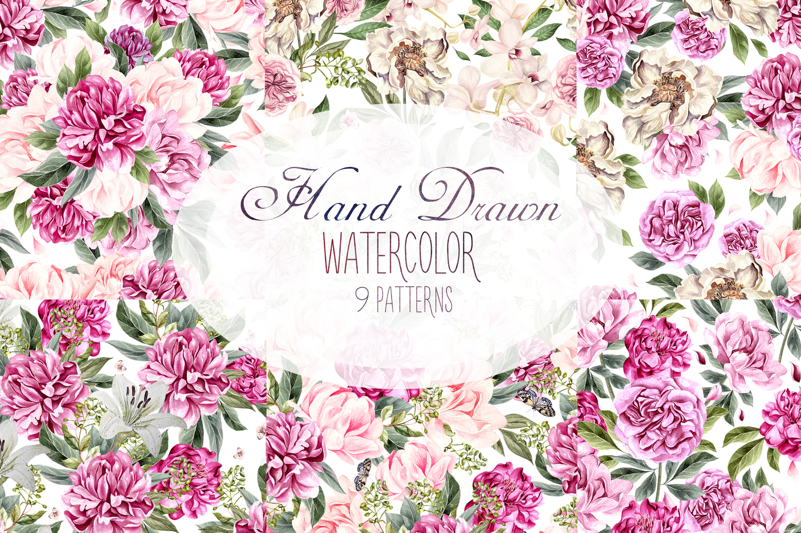 Hand Drawn Watercolor 9 Peony BloomingPattern