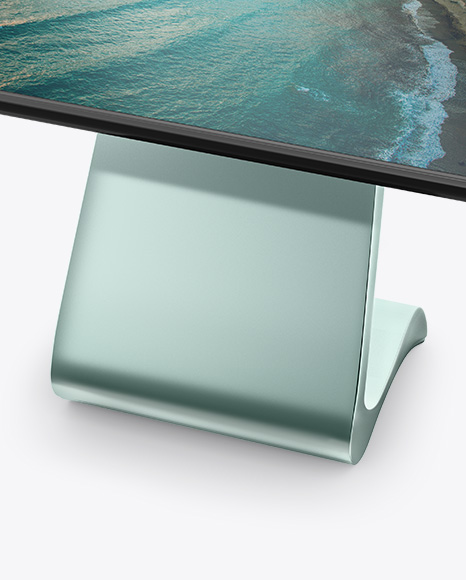 LCD Touch Screen Kiosk Mockup - Half Side View (High-Angle Shot)