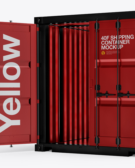 40F Shipping Container with Opened Door Mockup - Halfside View