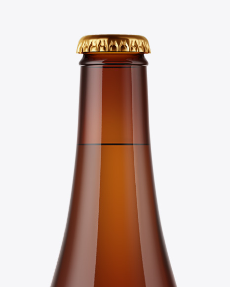 Glass Amber Bottle with Lager Beer Mockup