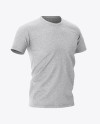 Men's Heather T-shirt Mockup - Front Half-Side View