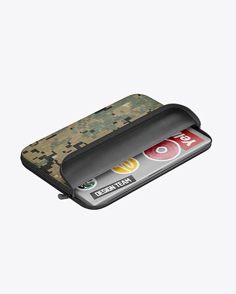 Melange Laptop Case Mockup - Half Side View (High Angle Shot)