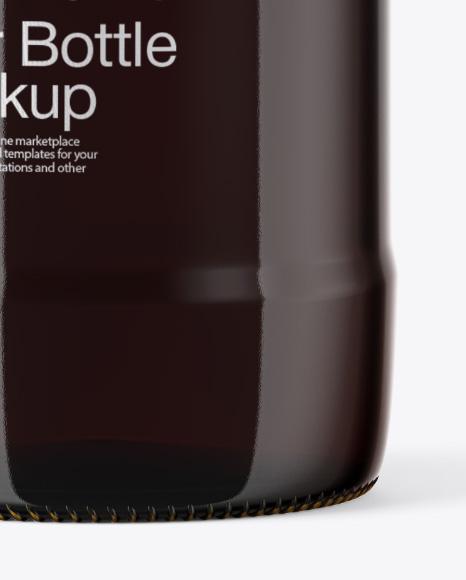 Glass Amber Bottle with Dark Beer Mockup