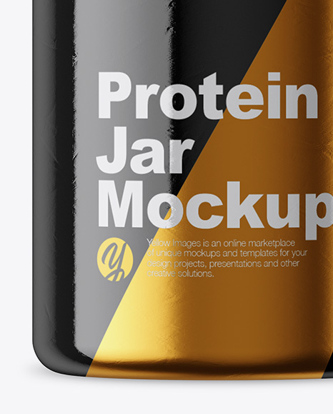 Protein Jar in Glossy Shrink Sleeve Mockup