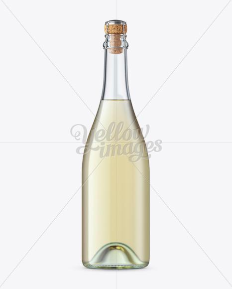 Clear Glass Lambrusco Bottle W/ White Wine Mockup