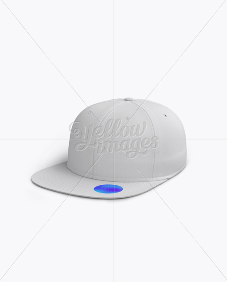 Snapback Cap with Sticker Mockup (Left Half Side View)
