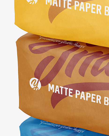 Three Matte Paper Bags Mockup - Halfside View (High-Angle Shot)