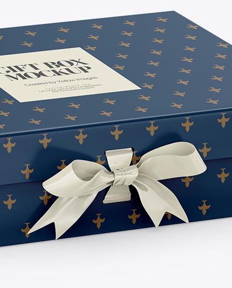 Matte Gift Box With Bow Mockup - Half Side View (High-Angle Shot)