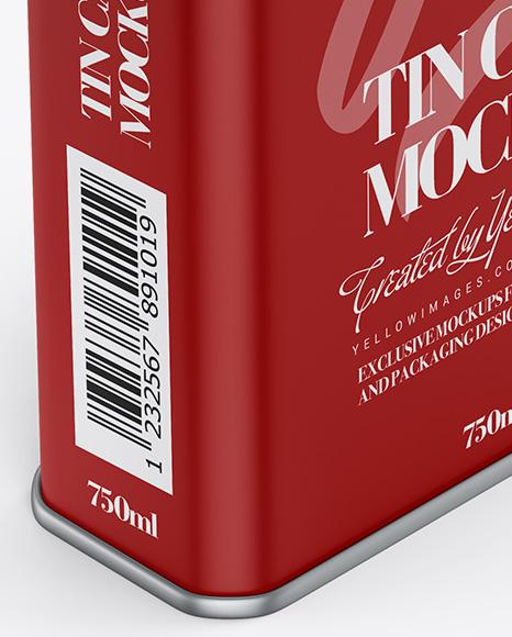 Matte Tin Can Mockup - Half Side View (High-Angle Shot)